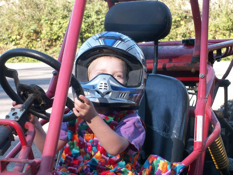 picture of Mikaela steering dune buggy