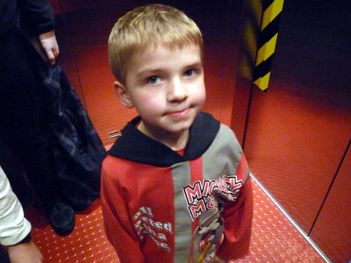 Picture of Brock in the elevator