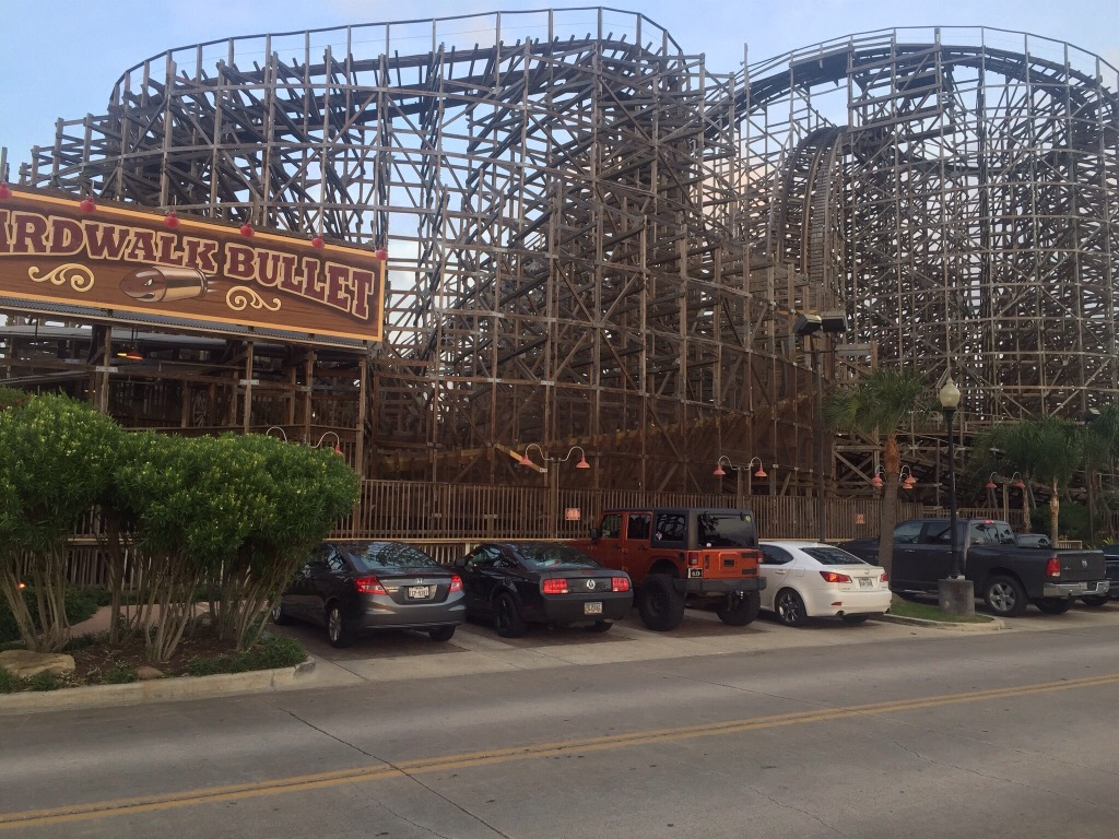 the (bone-jarring, head-aching, quite-a-thrill) wooden rollercoaster